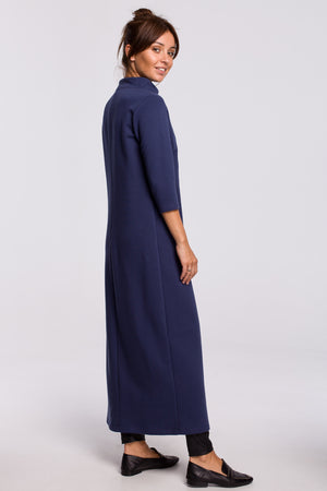 Blue Maxi Sweatshirt With A Side Slit - So Chic Boutique