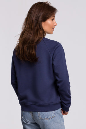 Blue Sweatshirt With A Print - So Chic Boutique