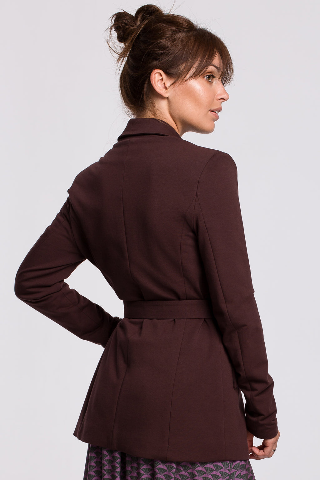 Brown Cotton Blazer With A Buckle Belt - So Chic Boutique