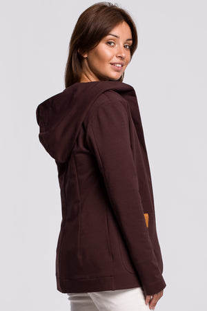 Brown Cotton Jacket With A Hood - So Chic Boutique