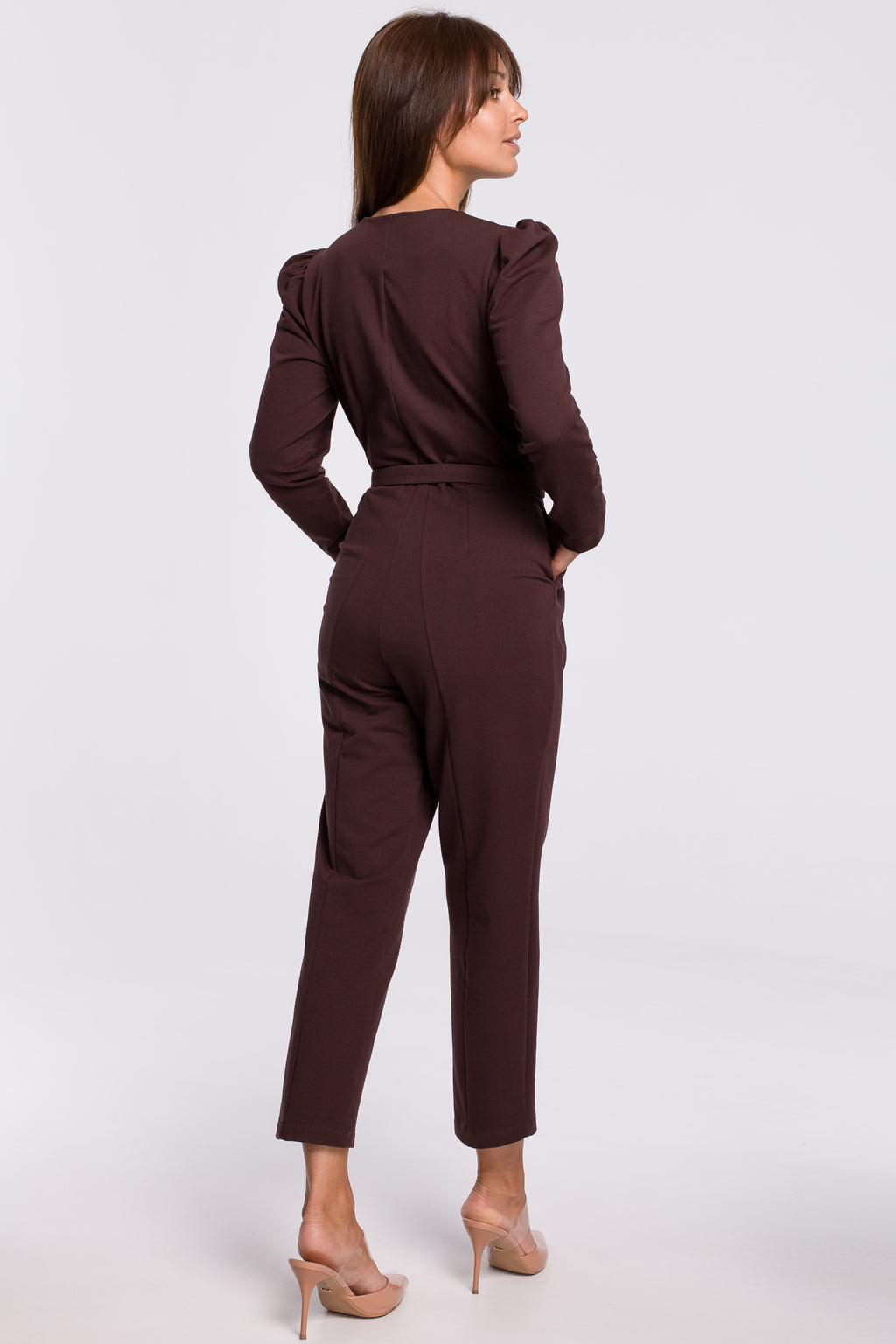 Brown Cotton Jumpsuit With A Buckle Belt - So Chic Boutique