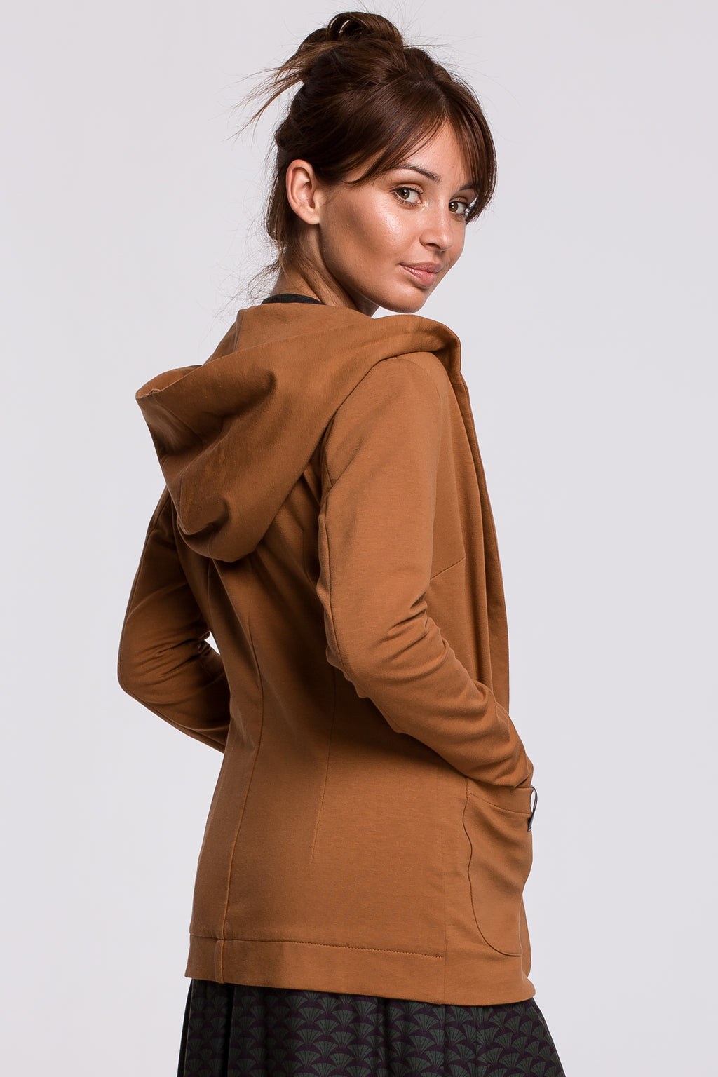 Caramel Cotton Jacket With A Hood - So Chic Boutique