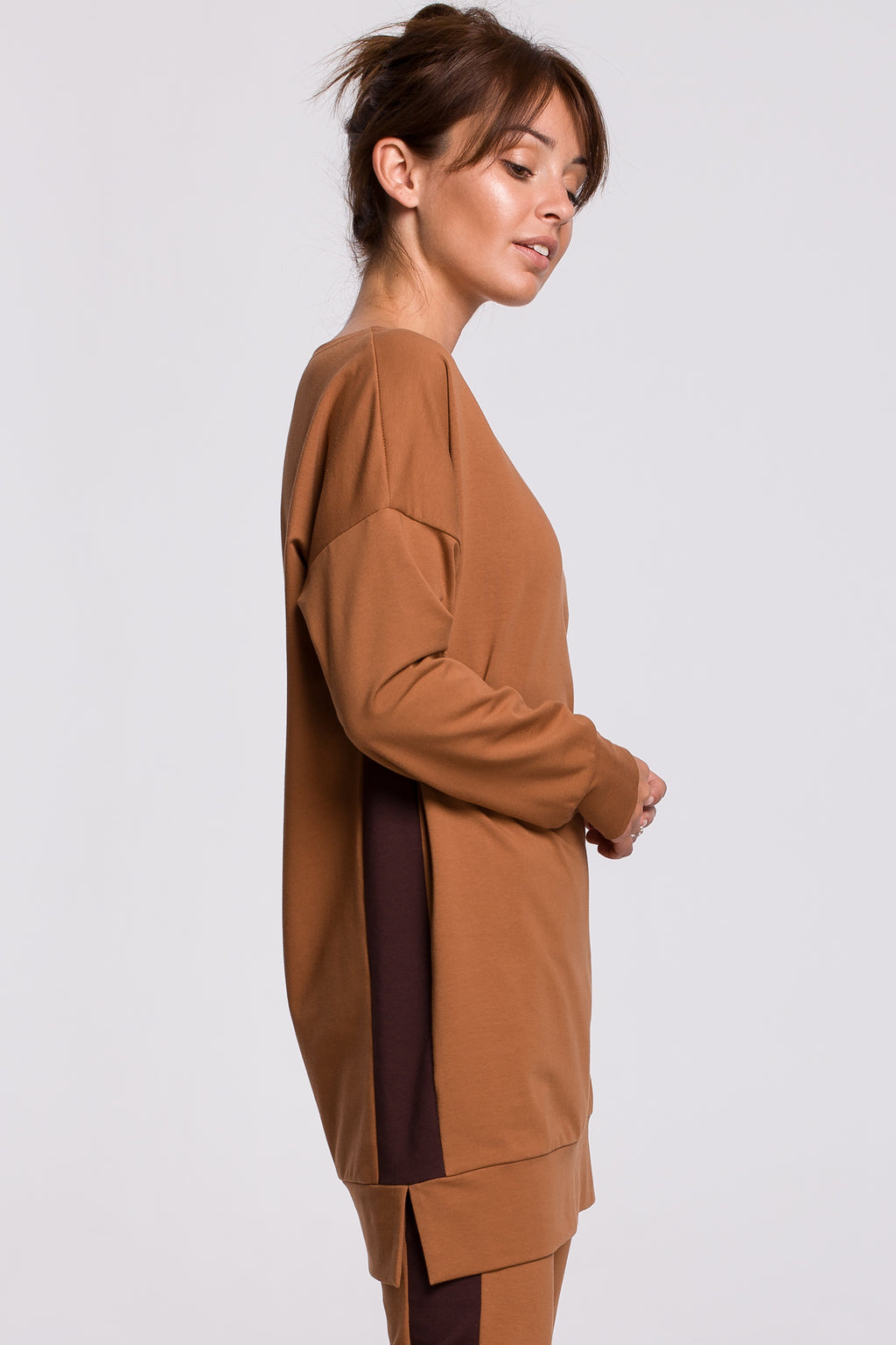 Camel Cotton Long Sweatshirt With Side Stripe - So Chic Boutique