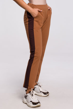 Camel Cotton Trousers With Side Stripe - So Chic Boutique