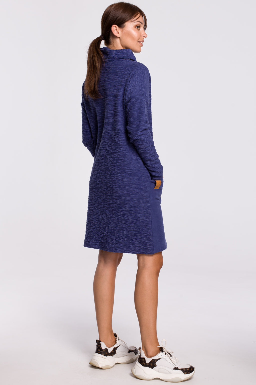 Double Textured Indigo Blue Cotton Dress With Patch Pockets - So Chic Boutique
