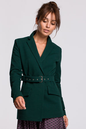 Green Cotton Blazer With A Buckle Belt - So Chic Boutique