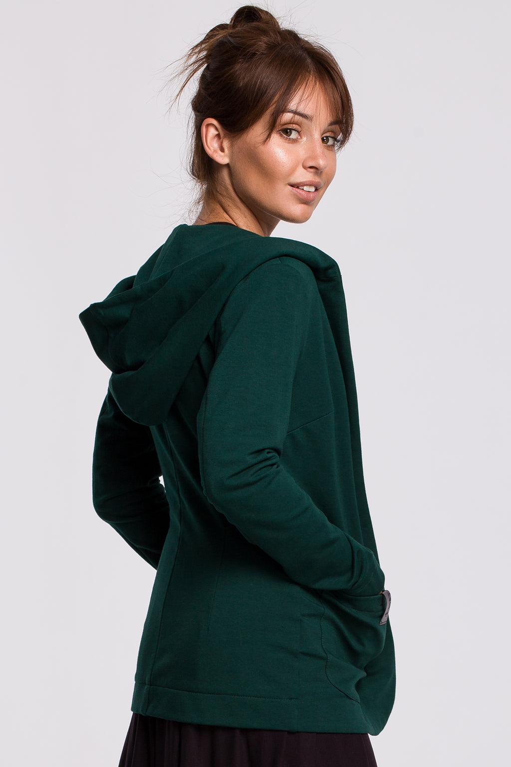 Green Cotton Jacket With A Hood - So Chic Boutique