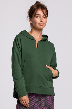 Green Hooded Sweatshirt With A Zip Neckline And Kangaroo Pocket - So Chic Boutique
