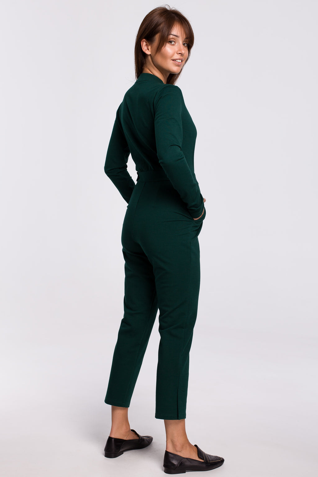 Green Wrap Front Top Jumpsuit With A Buckle - So Chic Boutique