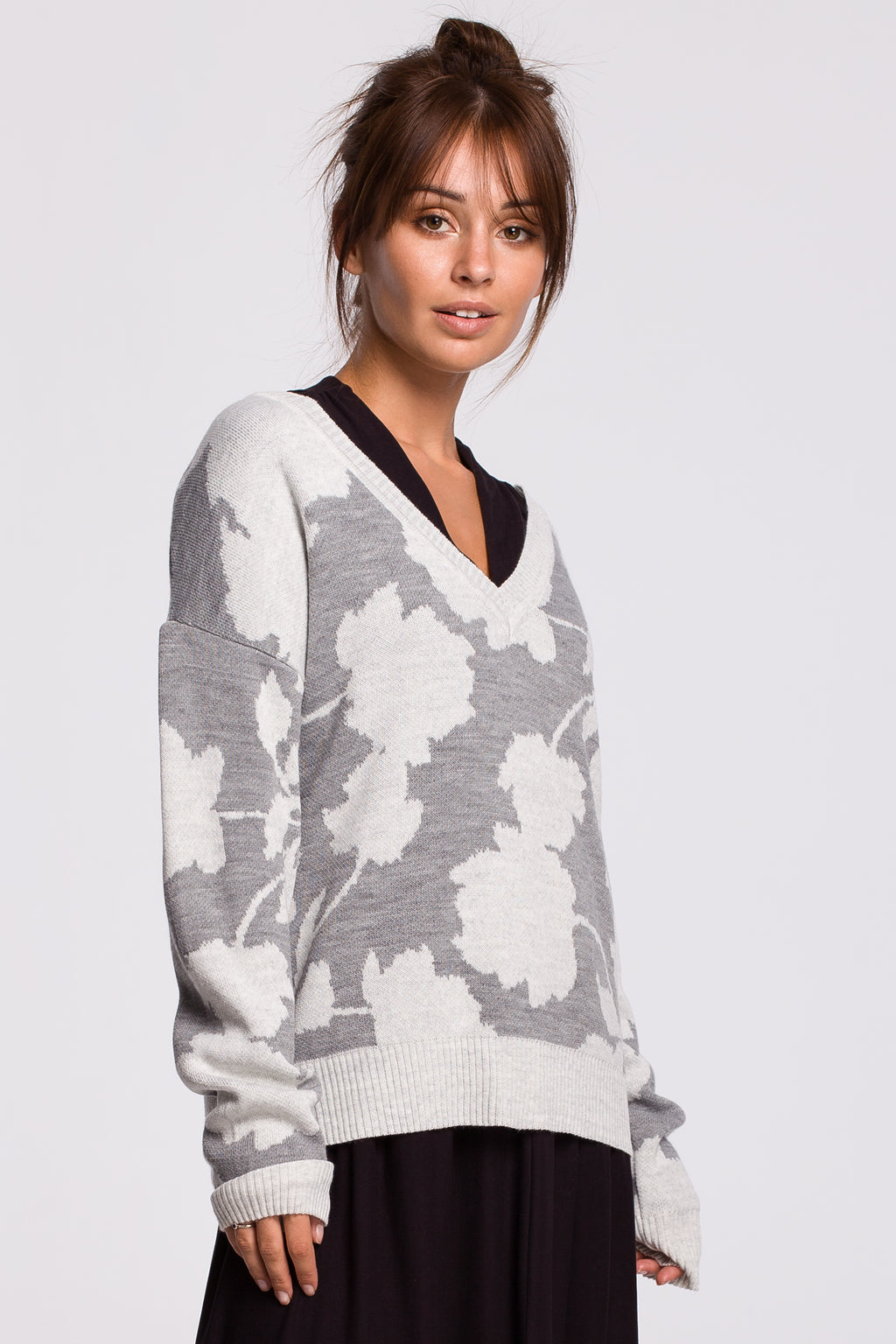 Grey Sweater With Ecru Floral Print - So Chic Boutique