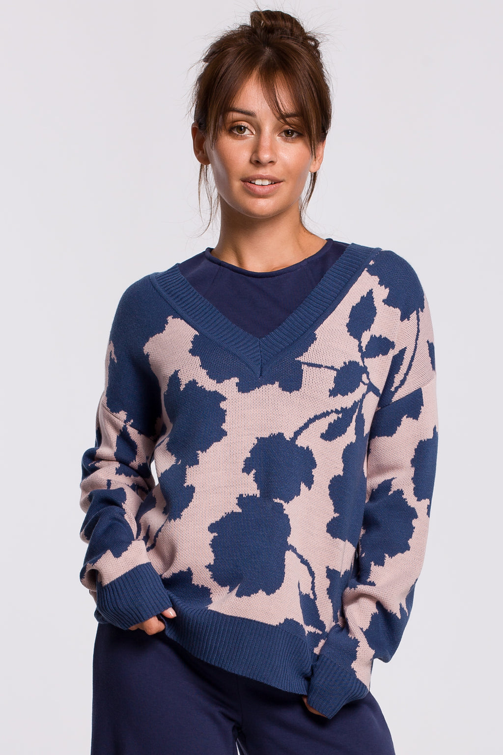 Lilac Sweater With Blue Floral Print - So Chic Boutique