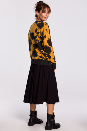 Mustard Sweater With Graphite Floral Print - So Chic Boutique