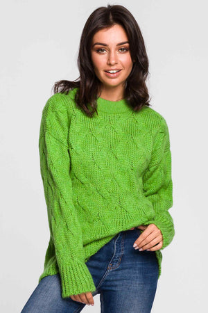 Green Pleated Weave Sweater - So Chic Boutique