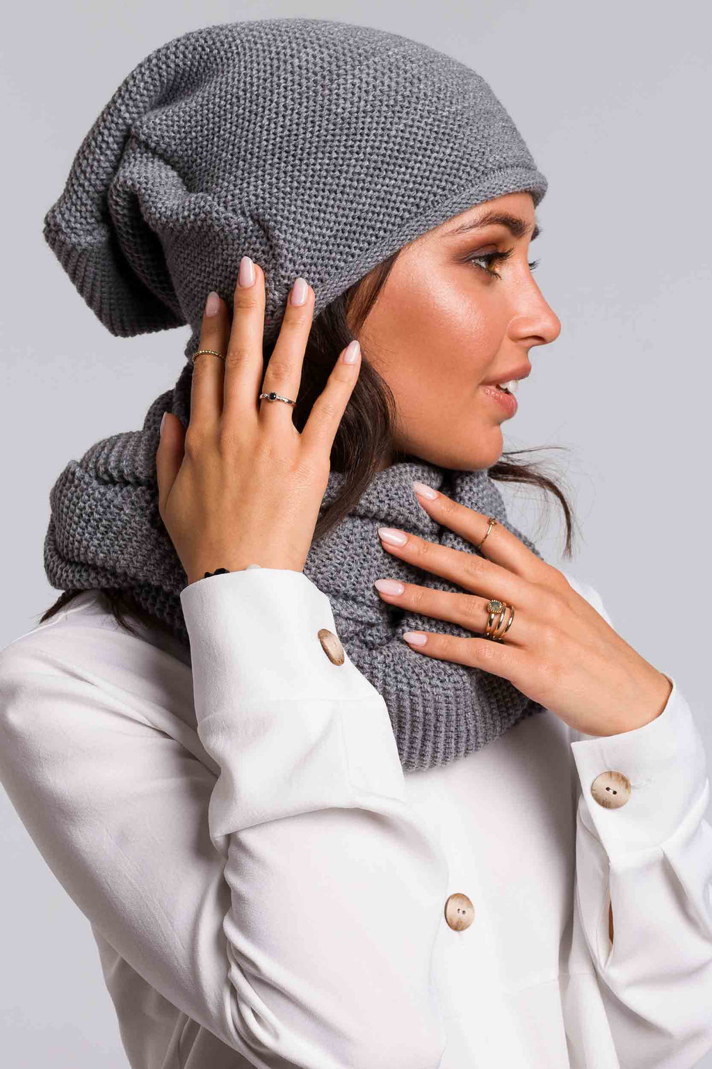 Grey Slouchy Beanie - So Chic Boutique