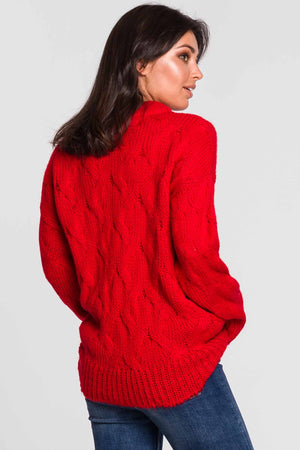 Red Pleated Weave Sweater - So Chic Boutique