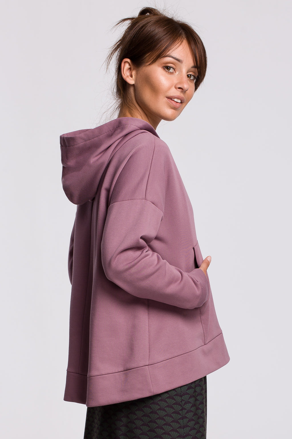 Lilac Hooded Sweatshirt With A Zip Neckline And Kangaroo Pocket - So Chic Boutique