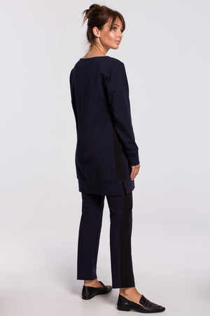 Navy Blue Cotton Trousers With Side Stripe - So Chic Boutique