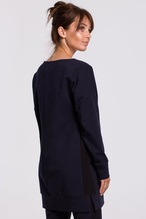 Navy Blue Cotton Long Sweatshirt With Side Stripe - So Chic Boutique