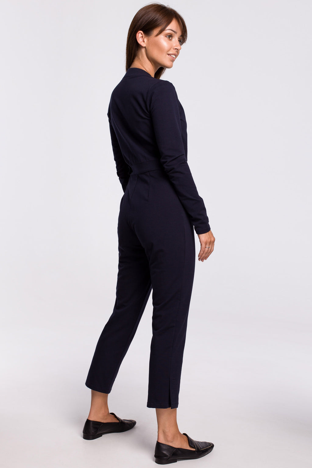 Navy Blue Wrap Front Top Jumpsuit With A Buckle - So Chic Boutique