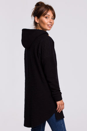Double Textured Black Cotton Long Sweatshirt With A Hood - So Chic Boutique