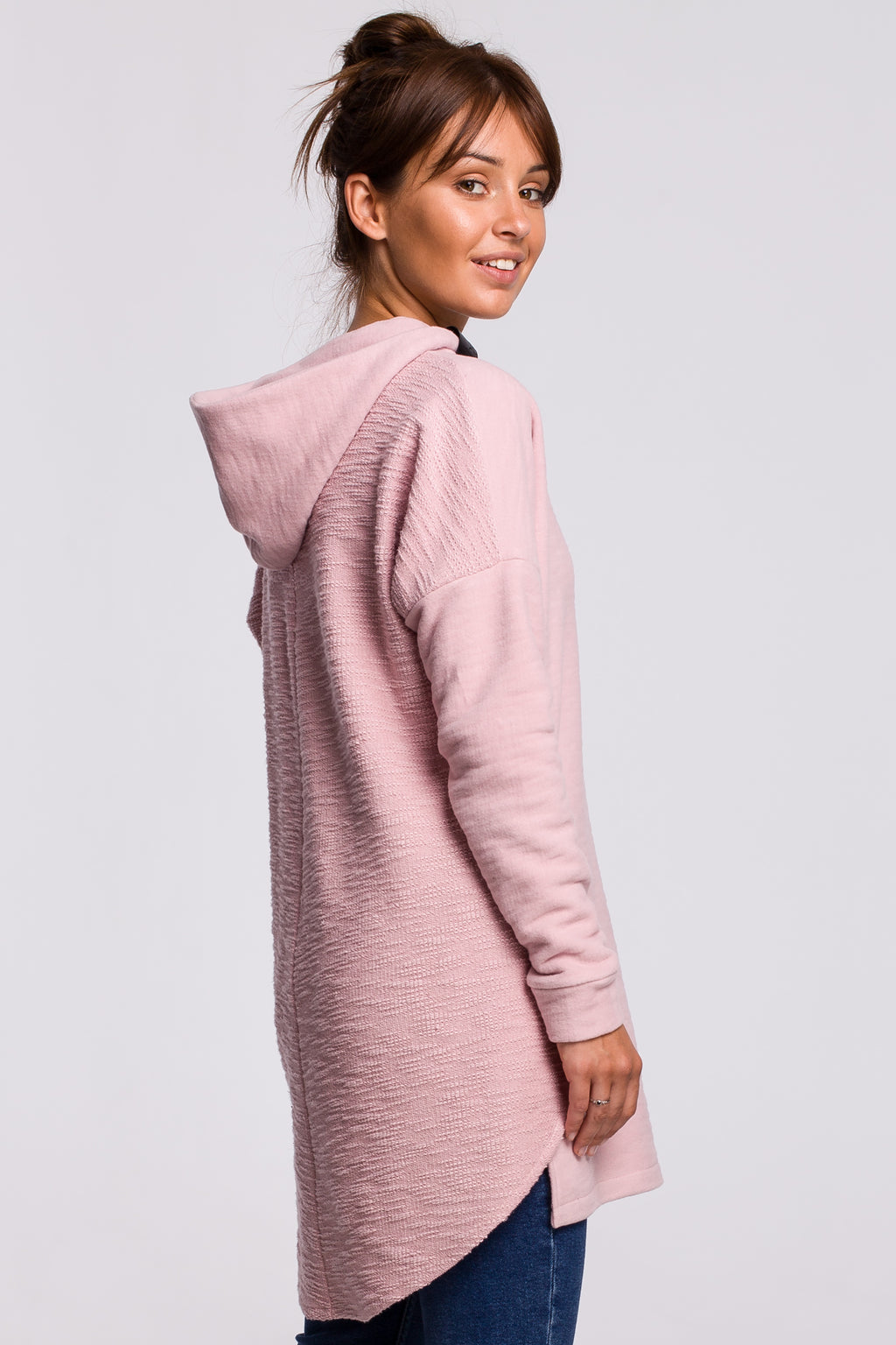 Double Textured Powder Pink Cotton Long Sweatshirt With A Hood - So Chic Boutique
