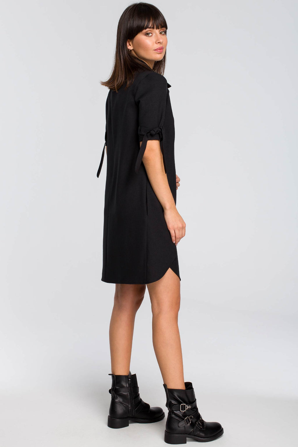 Black Tunic Dress With Short Tied Sleeves