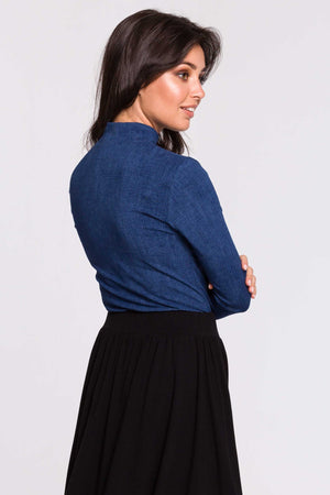 Blue High Neck Cotton Blouse - So Chic Boutique