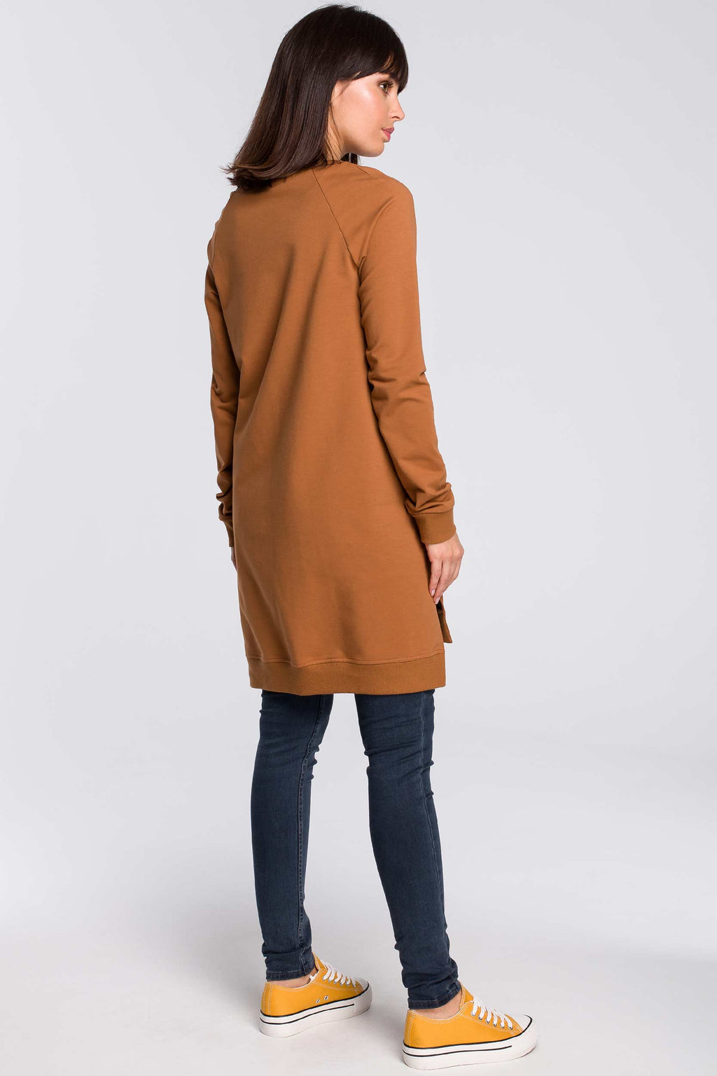 Caramel Long Cotton Sweatshirt With Split Sides - So Chic Boutique