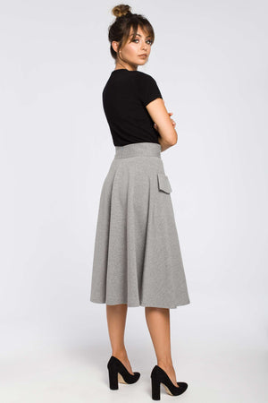 Grey High Waist Flared Skirt With Front Pockets - So Chic Boutique