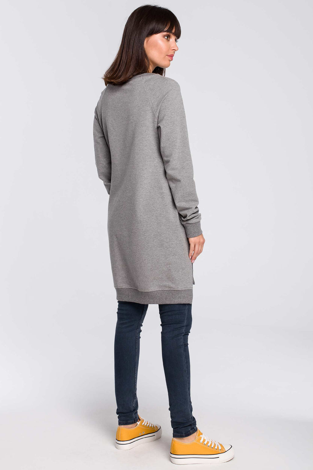 Grey Long Cotton Sweatshirt With Split Sides - So Chic Boutique