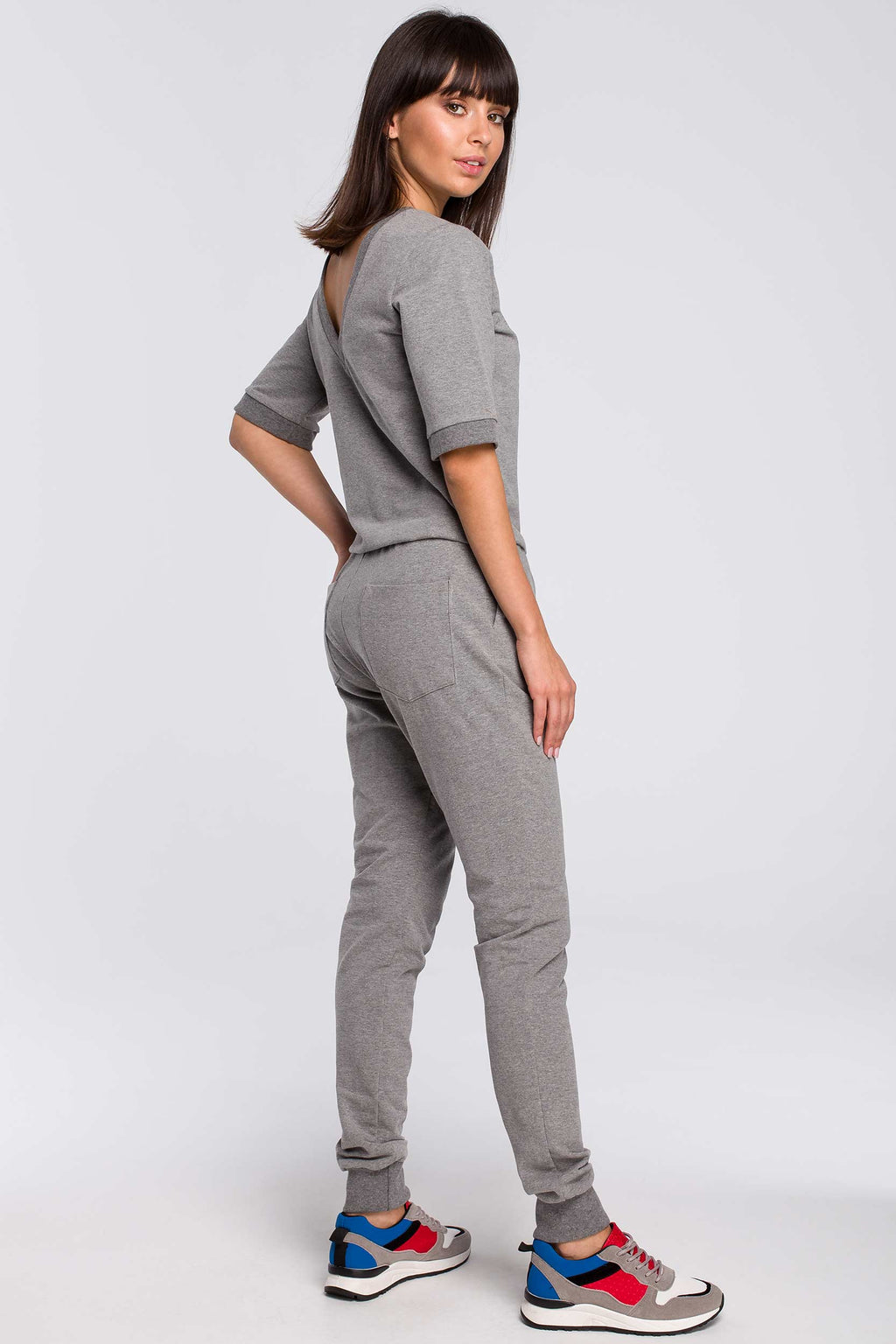 Grey V Neck Back Cotton Jumpsuit With Elastic Waist - So Chic Boutique