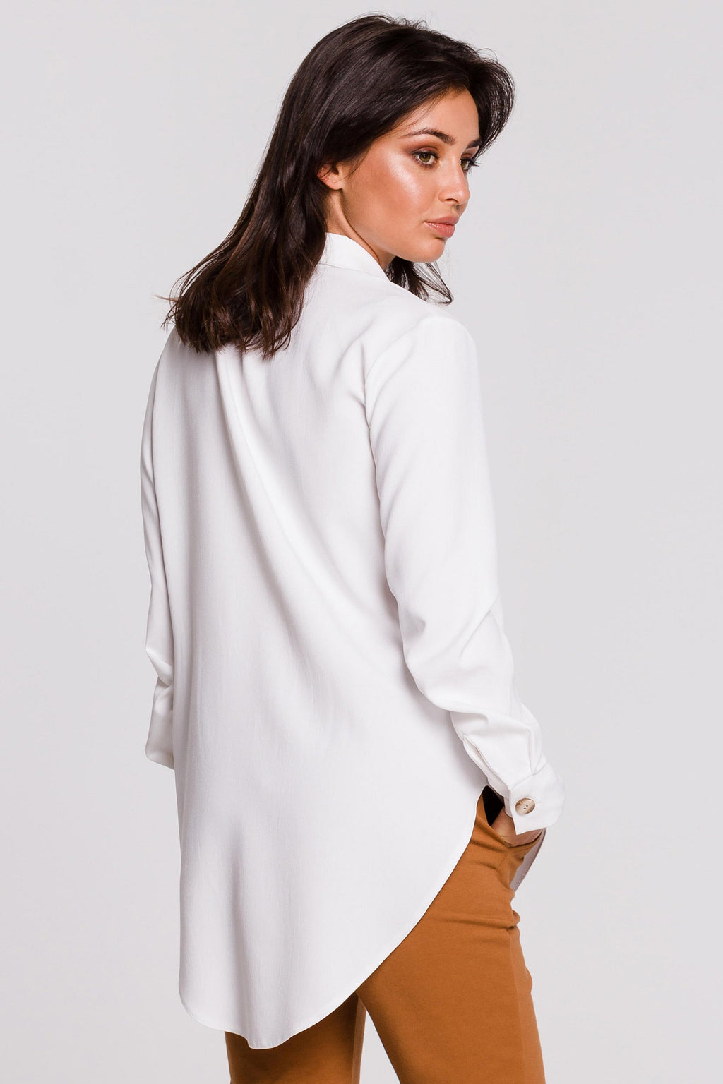 High Low White Shirt With Wooden Buttons - So Chic Boutique