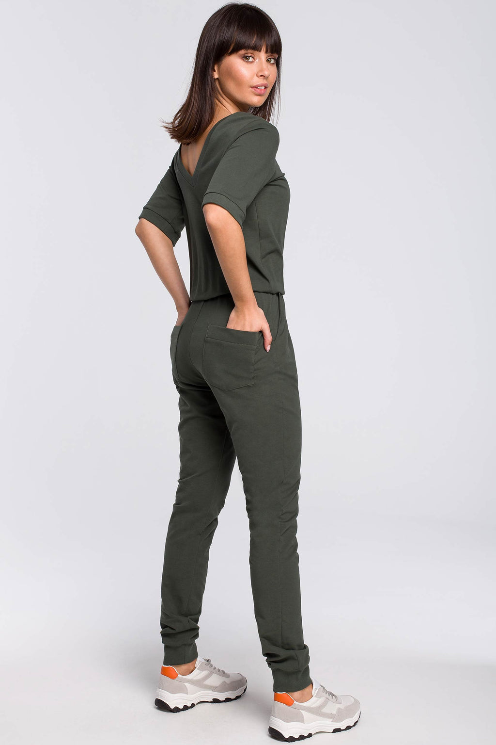 Khaki V Neck Back Cotton Jumpsuit With Elastic Waist - So Chic Boutique