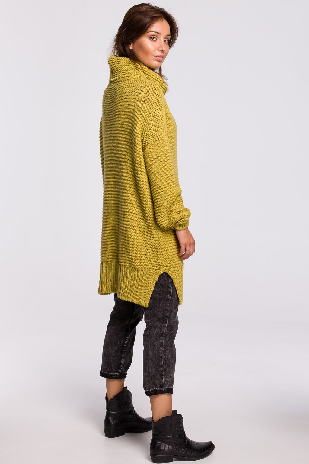 Lime Green Long Sweater With A Turtleneck - So Chic Boutique