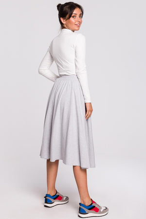 Light Grey Midi Flare Cotton Skirt With A Slit - So Chic Boutique