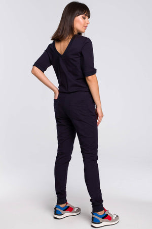 Navy Blue V Neck Back Cotton Jumpsuit With Elastic Waist - So Chic Boutique