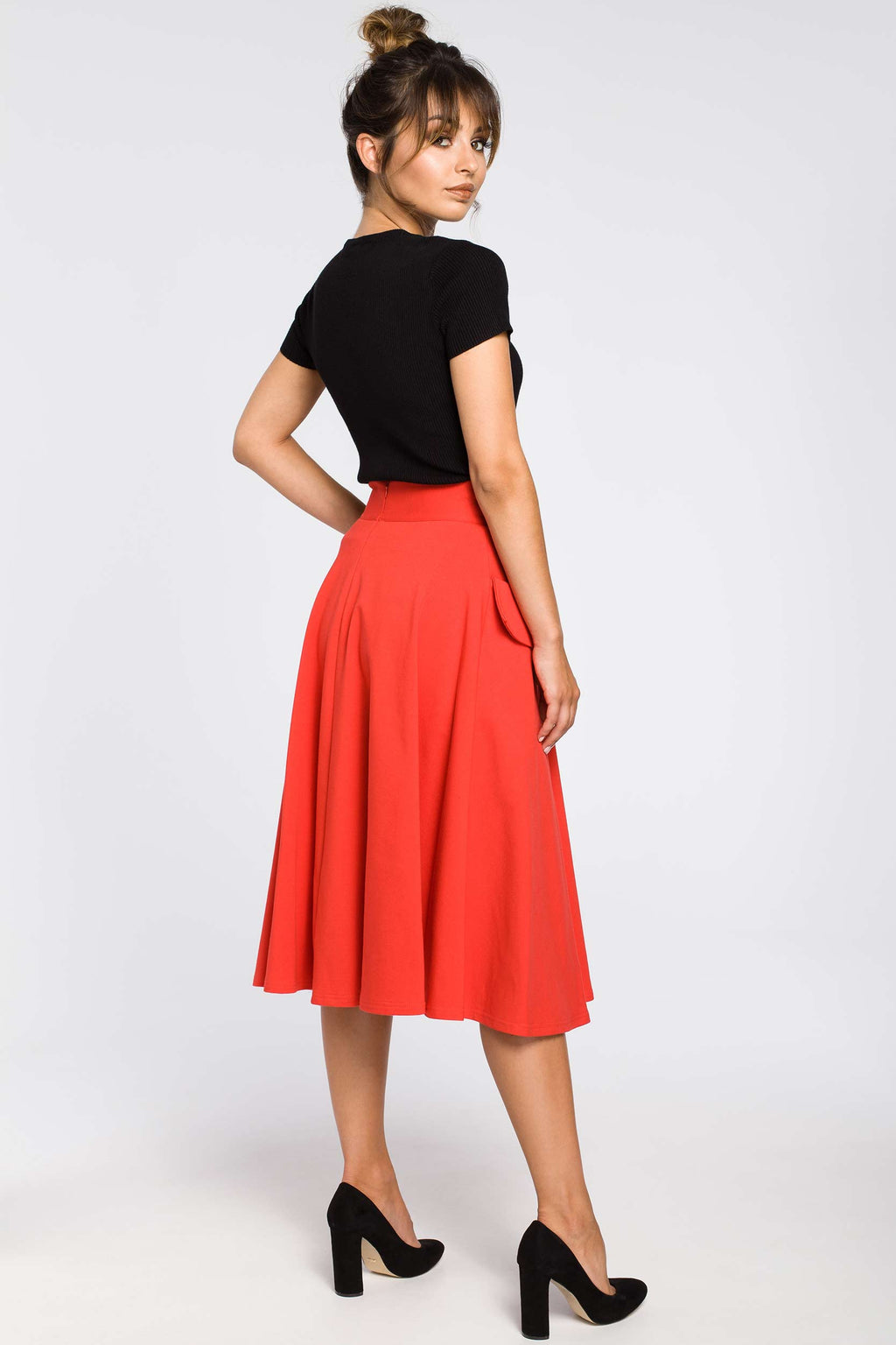Red High Waist Flared Skirt With Front Pockets