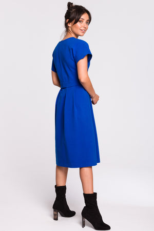 Royal Blue Midi Layer Cotton Dress With Short Sleeves - So Chic Boutique