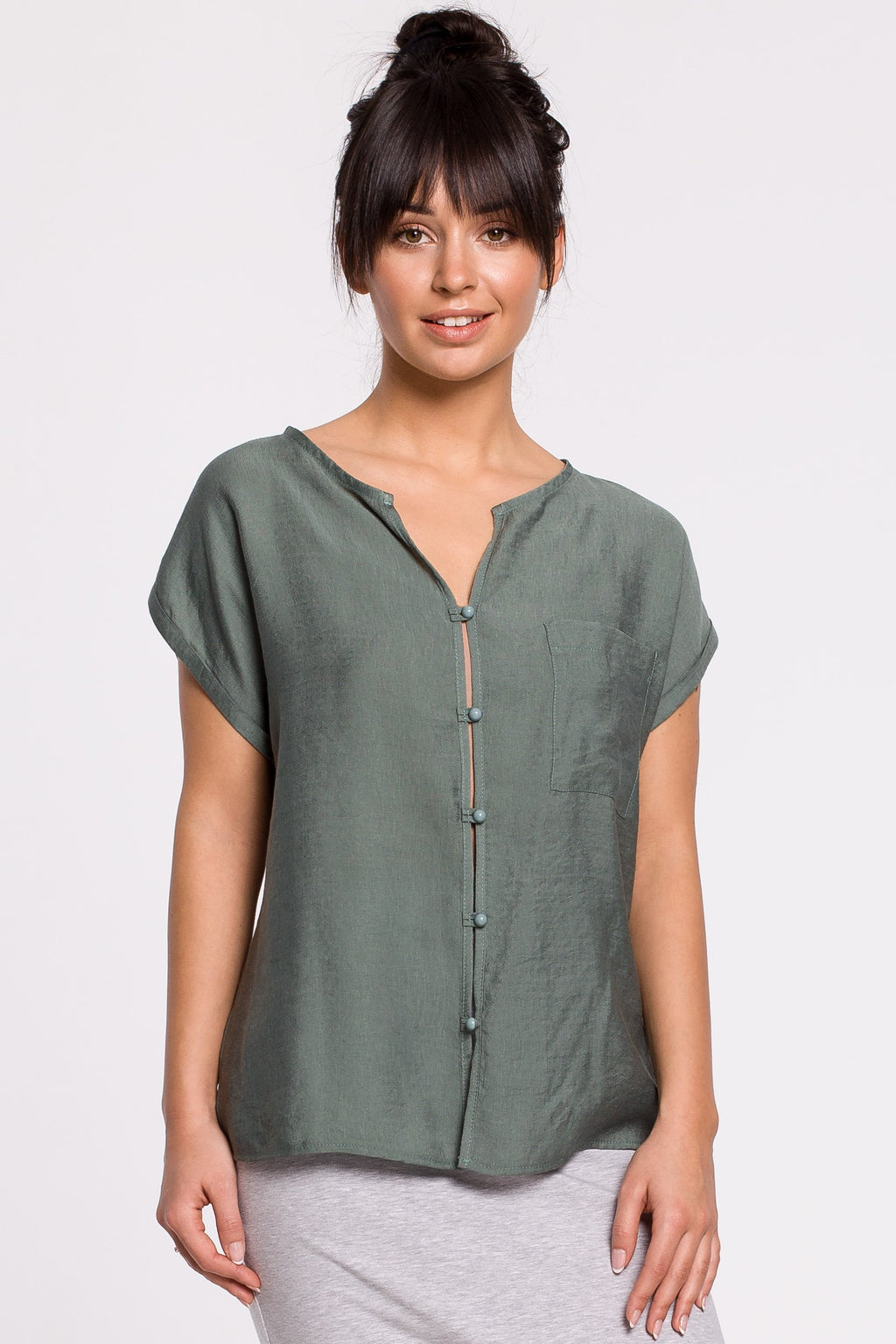 Short Sleeve Button Up Green Blouse - So Chic Boutique