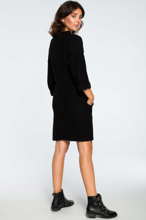 Black Cotton Knee Length Dress With In Seam Pockets - So Chic Boutique