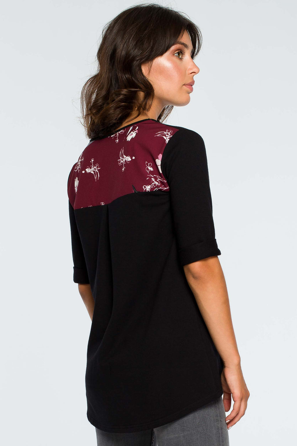 Black Loose Top With Floral Details - So Chic Boutique