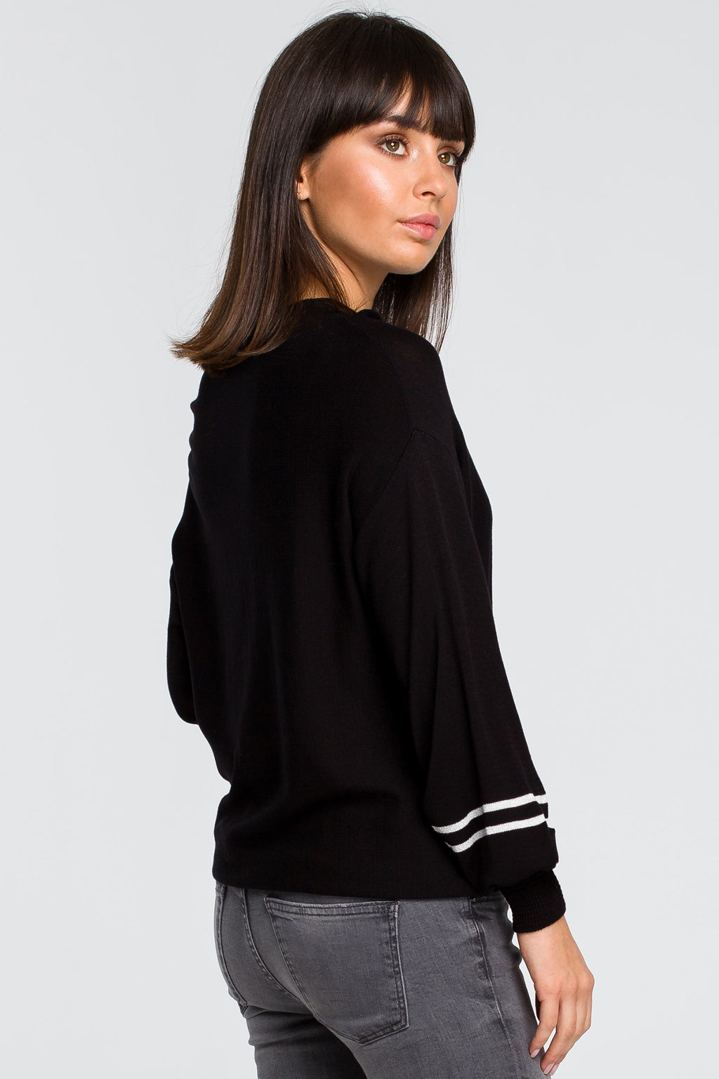 Black Bell Sleeve Lightweight Pullover - So Chic Boutique