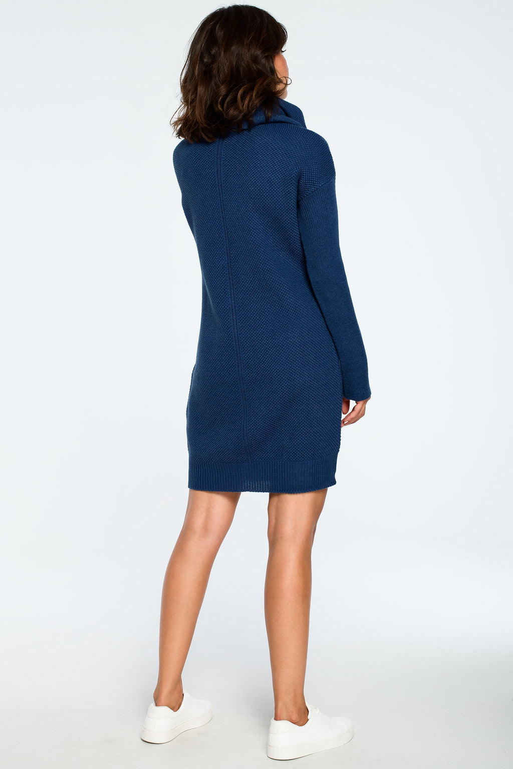 Blue High Collar Knit Dress - So Chic Boutique