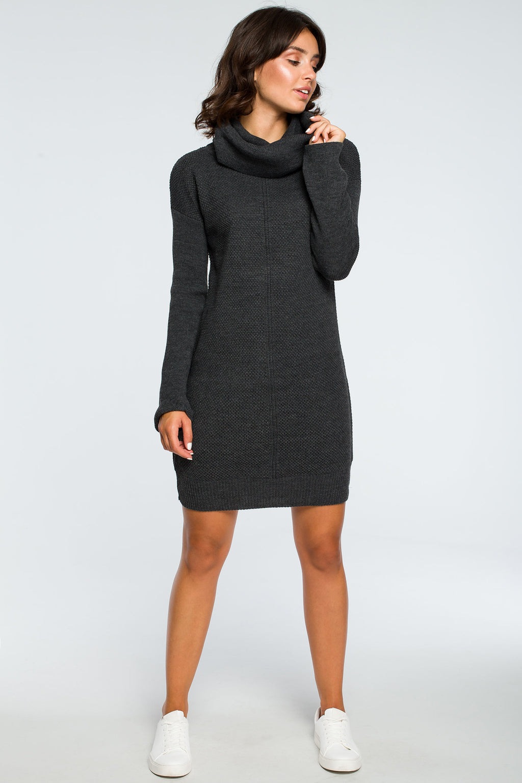 Graphite High Collar Knit Dress - So Chic Boutique