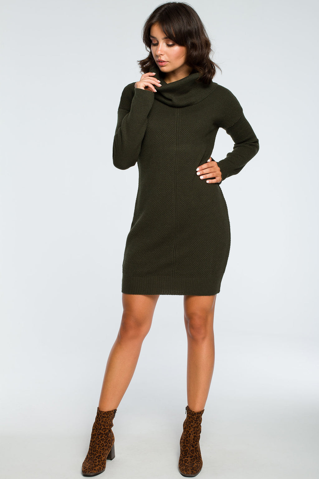 Khaki High Collar Knit Dress - So Chic Boutique