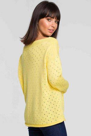 Yellow Open Knit Sweater - So Chic Boutique