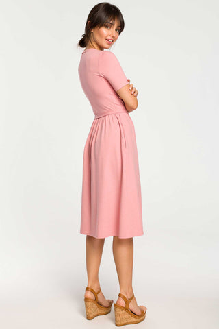 Pink Fit And Flare Midi Dress With A Thin Buckle Belt