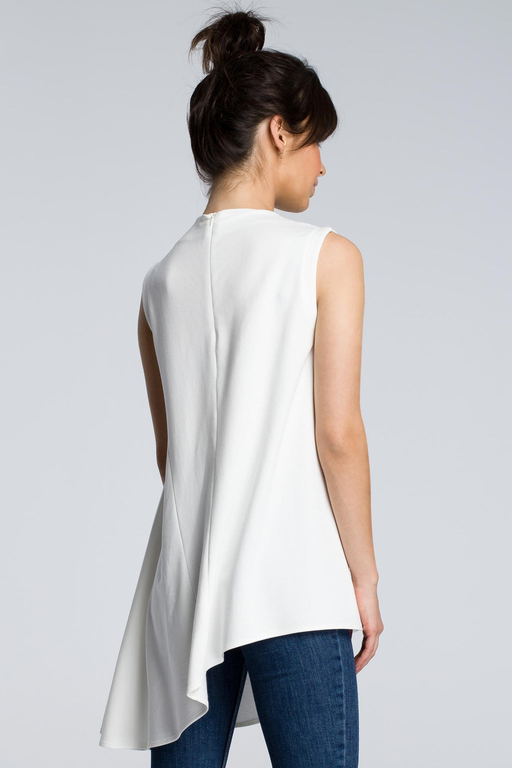 Ecru Cotton Asymmetric Blouse