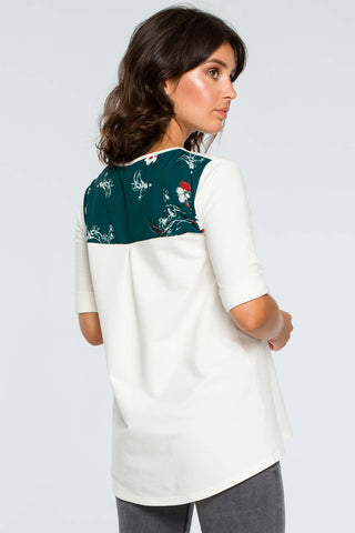 Ecru Loose Top With Floral Details