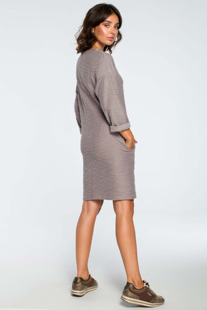 Grey Cotton Knee Length Dress With In Seam Pockets - So Chic Boutique